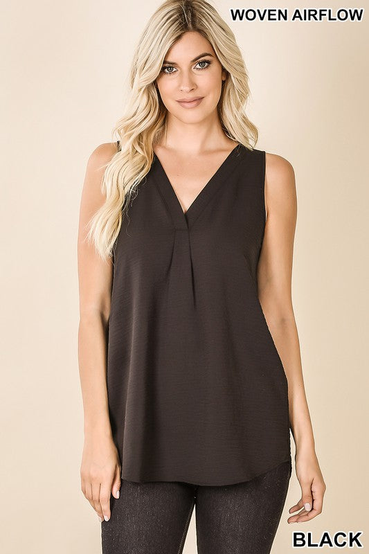 woven airflow vneck sleeveless tank blouse Black