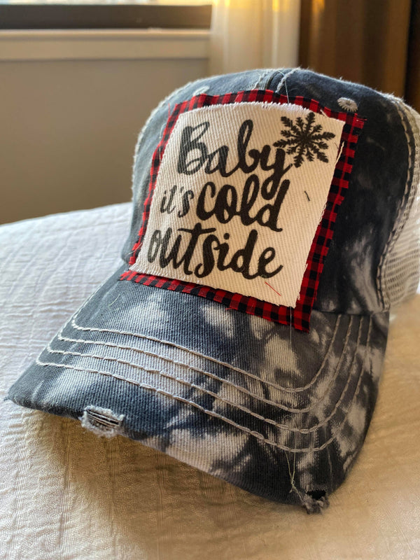 EXCLUSIVE: Baby Its Cold Out Tie Dye Trucker Hat, ACCESSORIES, BLINGAGOGO, BAD HABIT BOUTIQUE