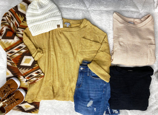 Heavy Gage Waffle Knit Top