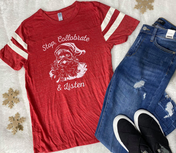 *MISPRINT* Stop, Collobrate and Listen Stripe T-shirt - Red - Final Sale, CLOTHING, BAD HABIT APPAREL, BAD HABIT BOUTIQUE