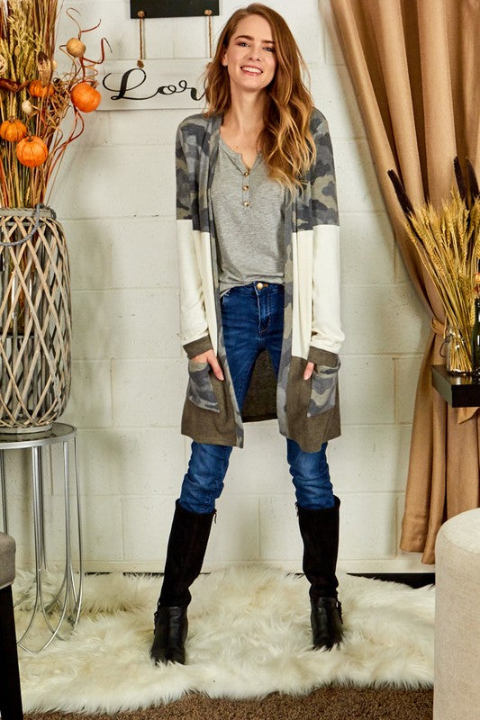 Brushed camo Colorblock duster cardigan