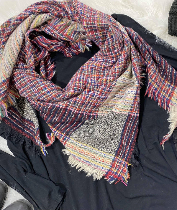Rainbow Mix Plaid Triangle Blanket Scarf, CLOTHING, BAD HABIT BOUTIQUE, BAD HABIT BOUTIQUE