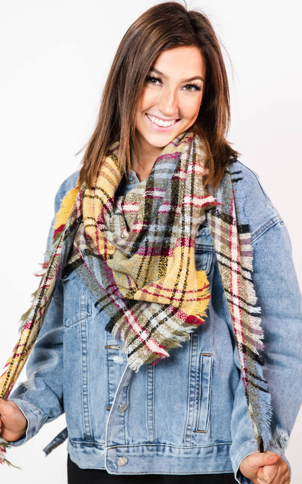 Yellow/Blue/Hunter Green Plaid Triangle Blanket Scarf, CLOTHING, BAD HABIT BOUTIQUE, BAD HABIT BOUTIQUE