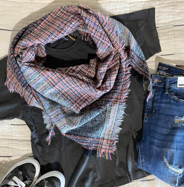 Spring Plaid Triangle Blanket Scarf - BAD HABIT BOUTIQUE