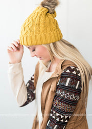 Cable Knit Hat with Fur, HATS, Leto, BAD HABIT BOUTIQUE