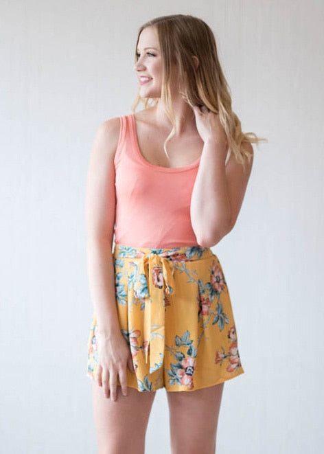 Vibrant Floral Shorts | Yellow