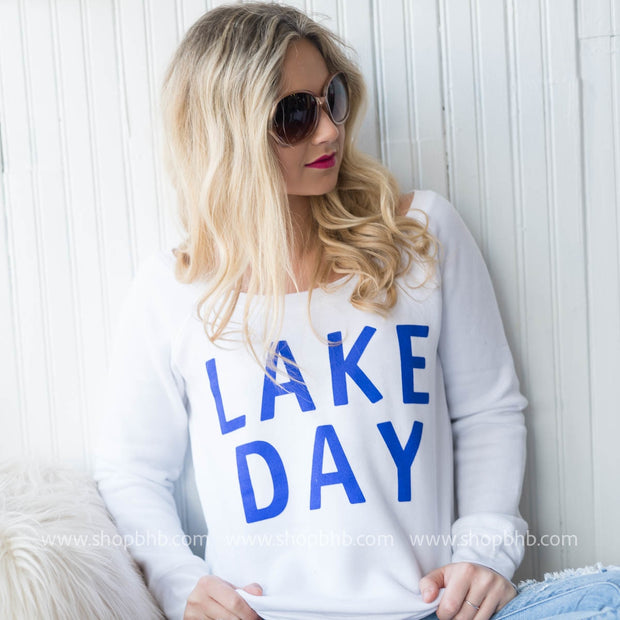 Lake Day Fleece Slouchy, LAKE, GRAPHICS, badhabitboutique