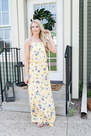 Floral Maxi Dress wit Slide Slit | Yellow, SALE, vendor-unknown, badhabitboutique