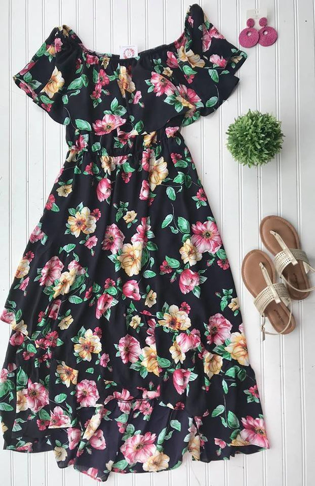Curvy Girl Off the Shoulder Floral Dress | Navy, SALE, Soprano, badhabitboutique