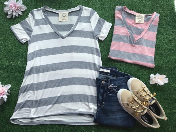 Deep V-Neck Striped Tee, SALE, vendor-unknown, badhabitboutique