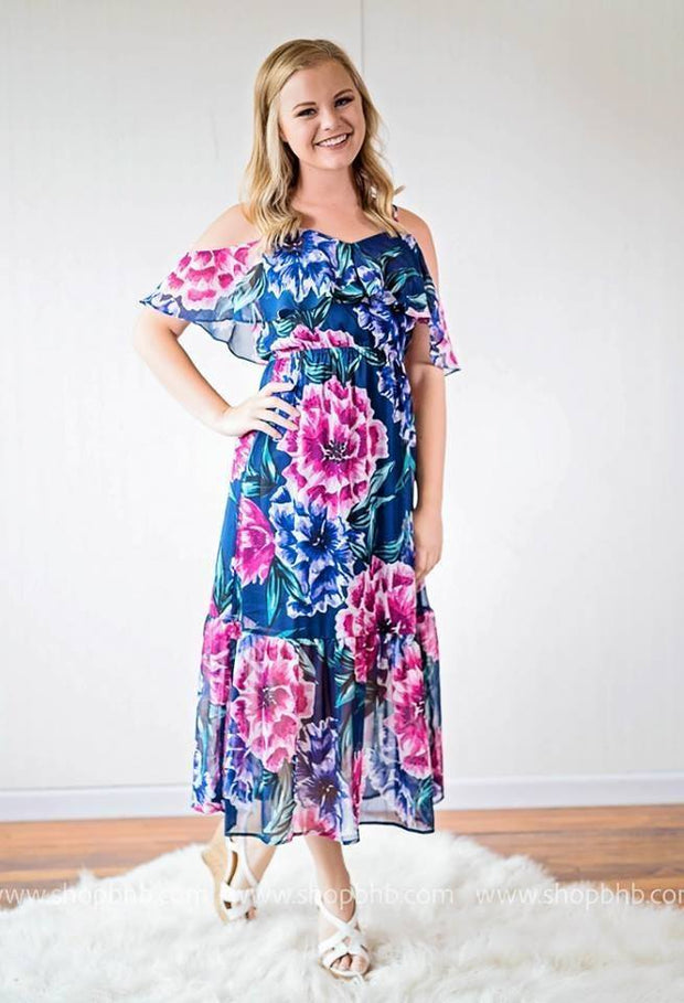 Floral Maxi Dress with Ruffle Neckline | Navy, SALE, vendor-unknown, badhabitboutique