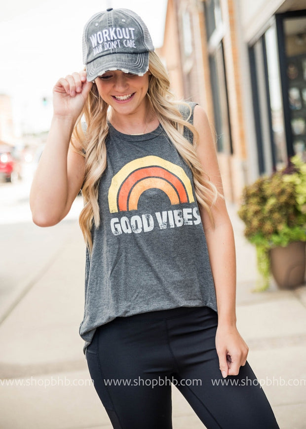 Good Vibes Tank | Gray, SALE, Zutter, badhabitboutique