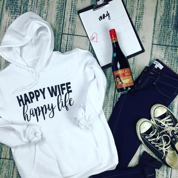 Happy Life Happy Wife Hoodie, CLOTHING, BAD HABIT APPAREL, BAD HABIT BOUTIQUE