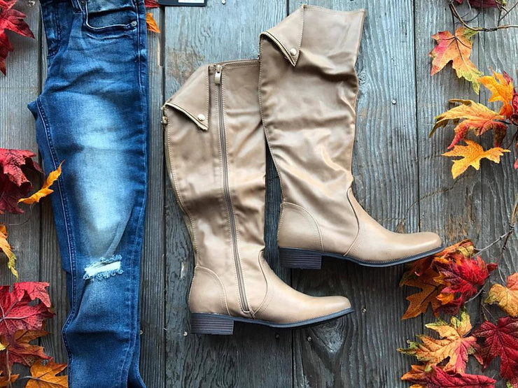 Taupe Tall Boots-FINAL SALE