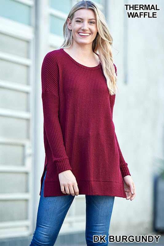 dark burgundy thermal, thermal, long sleeve, long sleeve thermal, tunic, top