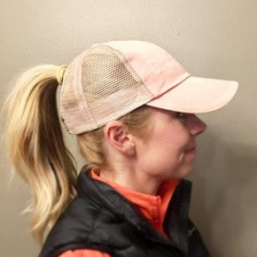 Ponytail Trucker hat with Mesh - BAD HABIT BOUTIQUE