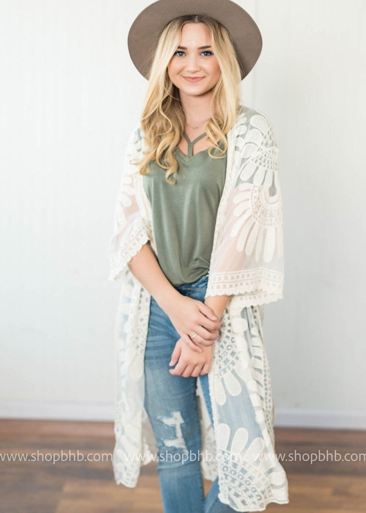 Bohemian Lace Embroidered Duster | Ivory, CARDIGANS, Leto, badhabitboutique