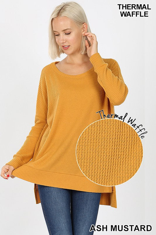ash mustard thermal long sleeve tunic, thermal tunic, long sleeve tunic,