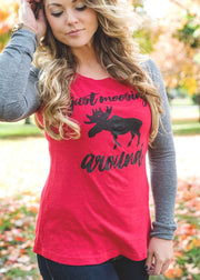Just Moosing Around Baseball Elbow Patch Tee, CLOTHING, BAD HABIT APPAREL, BAD HABIT BOUTIQUE