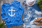 Anchors Away Slouchy Sweater - blue, LAKE, GRAPHICS, BAD HABIT BOUTIQUE