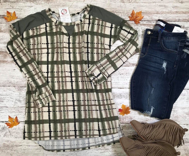 Plaid Sweater Tunic | Olive