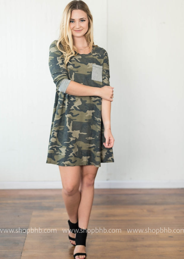 Long Sleeve Dress | Camo, WHAT'S NEW, DRESSES, badhabitboutique