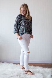 Floral 3/4 Chiffon Blouse, SALE, fun2fun, badhabitboutique