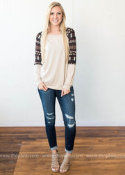 Tribal Print Contrast Top