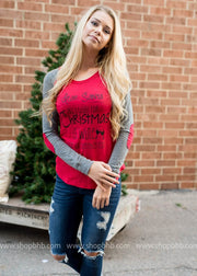 Dear Santa, All I want for Christmas is Wine- Elbow Patch, CLOTHING, BAD HABIT APPAREL, BAD HABIT BOUTIQUE