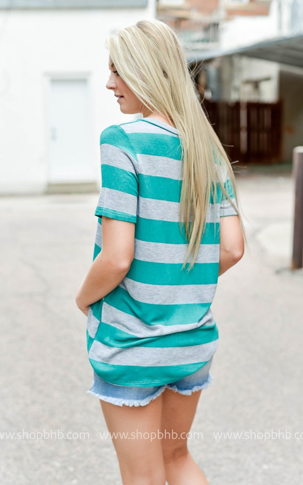 Deep V-Neck Striped Tee, SALE, Fantastic Fawn, badhabitboutique