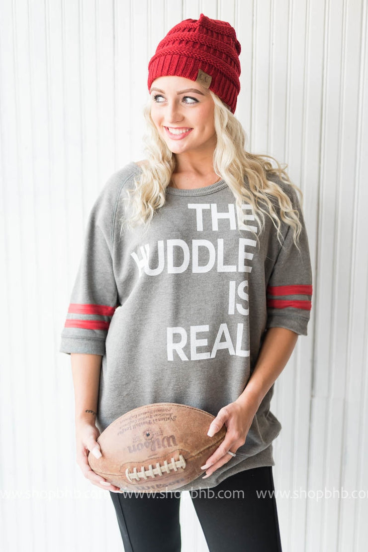 HUDDLE IS REAL Sweater - grey, GAMEDAY, BAD HABIT APPAREL, badhabitboutique