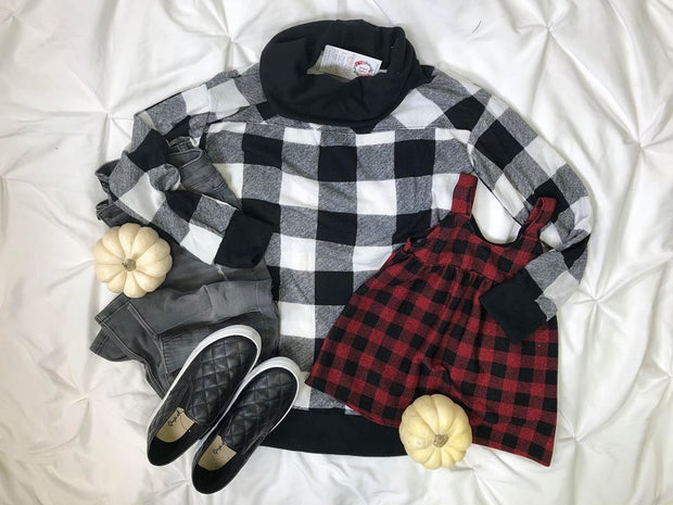 Sidekick Collection : Kids Buffalo Plaid Checker Jumper baby doll Dress-Red-FINAL SALE