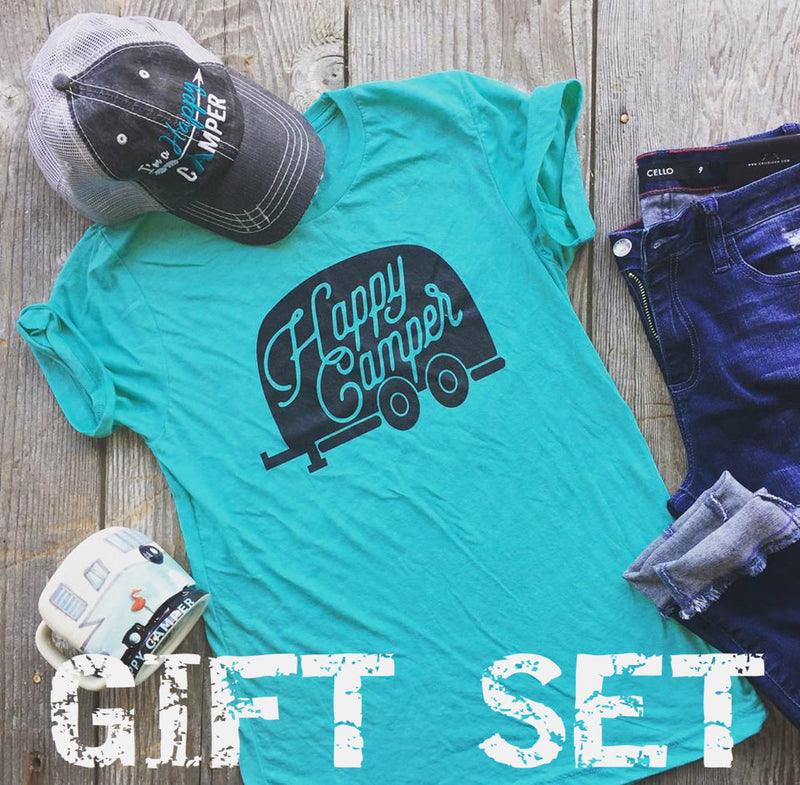 GIFT SET | Happy Camper Gift Set 3 Pieces: Tee, Mug, Hat, GIFT BOXES, BAD HABIT APPAREL, BAD HABIT BOUTIQUE