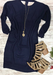 Absolutely Refined- Navy Sweater Dress, DRESSES, HyFve, badhabitboutique