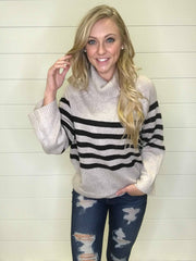 Turtle Neck  Striped Sweater- Oatmeal