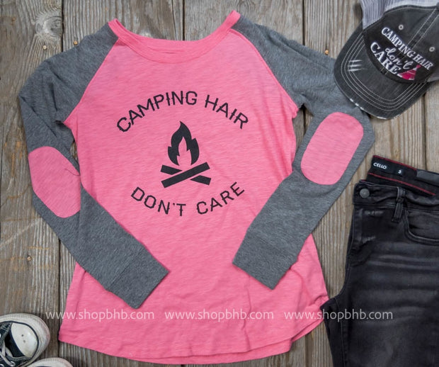 Camp Hair Dont Care Elbow Patch Top, CLOTHING, BAD HABIT APPAREL, BAD HABIT BOUTIQUE