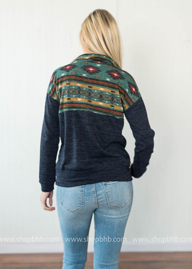 Climbing Mountains Tribal Colorblock Top, SWEATERS, Lovely Melody, badhabitboutique