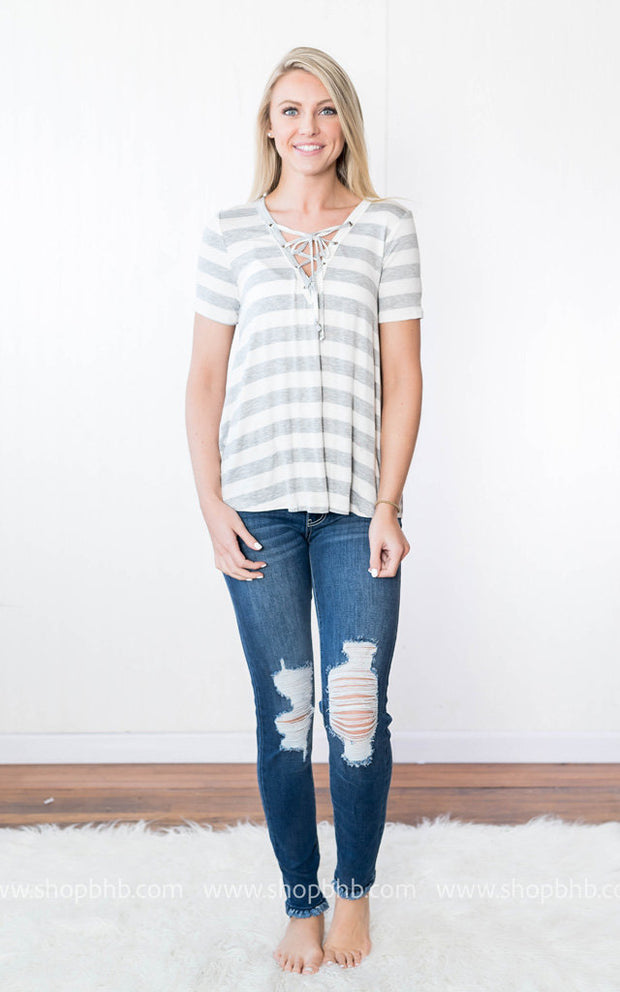 Lace Up Neckline Striped Top | Gray, SALE, vendor-unknown, badhabitboutique