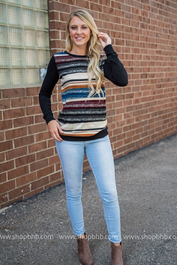 Color Wash Striped Front Top, SALE, Lovely J, badhabitboutique