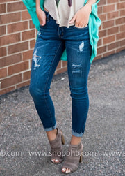 Dark Denim Ankle Skinny Jean, DENIM, Kan Can, badhabitboutique