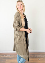 Front Pocket Duster Coat | Olive, OUTERWEAR, vendor-unknown, badhabitboutique