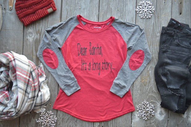 Dear Santa Its A Long Story Elbow Patch-Red, CLOTHING, BAD HABIT APPAREL, BAD HABIT BOUTIQUE