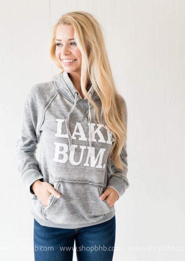 (The Original) Lake Bum Hoodie Unisex Fit - Gray, CLOTHING, BAD HABIT APPAREL, BAD HABIT BOUTIQUE