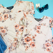 floral oatmeal short sleeve top