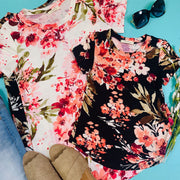 short sleeve floral top ivory black kids black