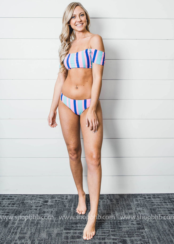 off the shoulder candy striped two piece swimsuit