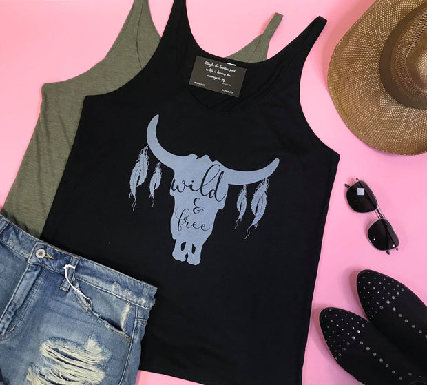 wild and free tank graphic black olive