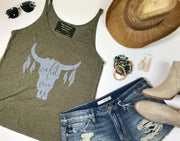 wild and free tank graphic olive