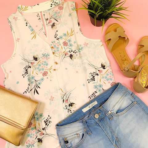 floral mock neck sleeveless top