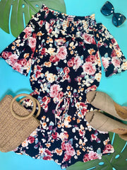off the shoulder floral romper black